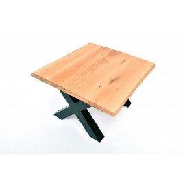 Stół 130x100 - dębowy, pogrubiony, szlifowany, nogi stalowe typ X lub U