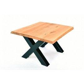 Stół 130x100 - dębowy, pogrubiony, szczotkowany, nogi stalowe industrialne typ X lub U