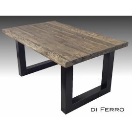 Stół 160x100 - sosnowy, pełny, nogi stalowe industrialne typ X lub U